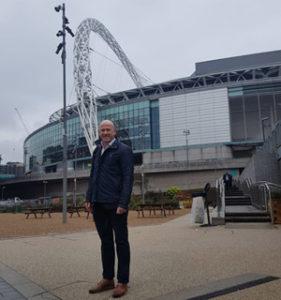 Seamus Kyne, CEO SportLoMo outside Wembley Stadium